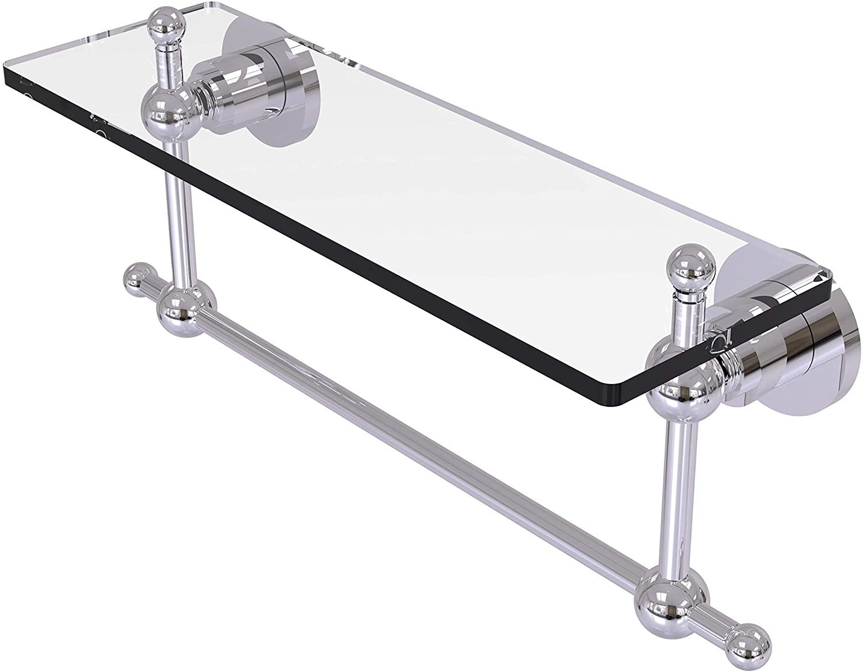 Allied Brass AP-1TB/16-PC Glass Shelf with Towel Bar, 16-Inch x 5-Inch