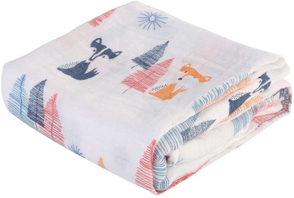 iFCOW Baby Blanket, 1PC Unisex Baby Muslin Swaddle Blanket Cartoon Animal Print Newborn Soft Receiving Blanket Wrap for Boys Girls