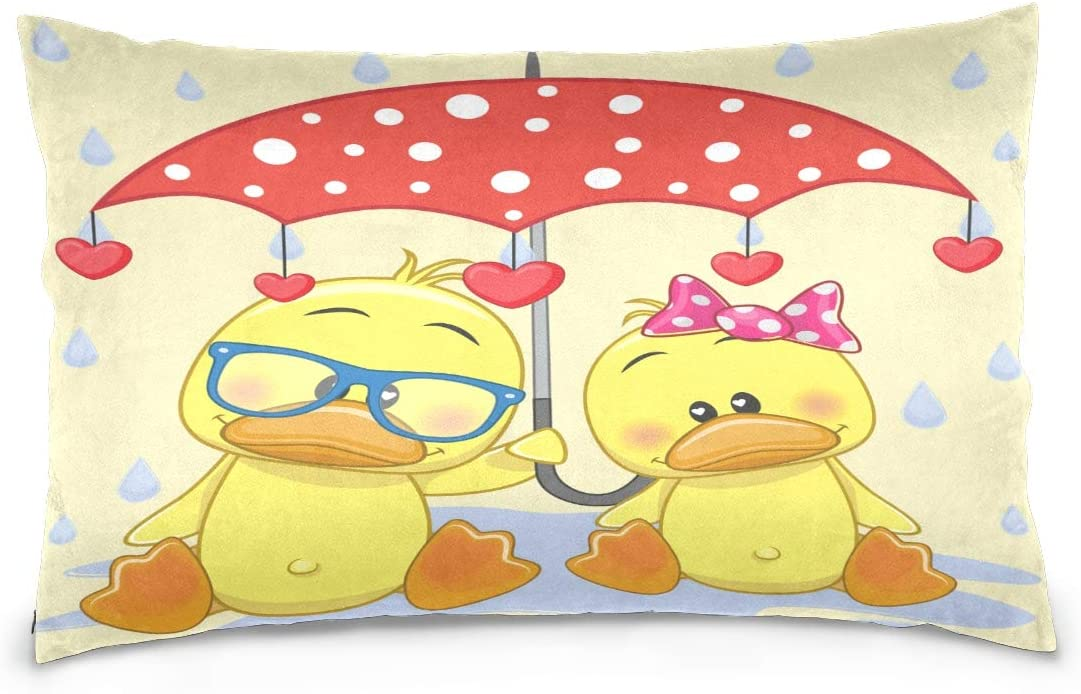 OPRINT Happy Valentines Day Two Ducks with Umbrella Cotton Lint Pillow Case,Double-Sided Printing Home Decor Pillowcase Size 16