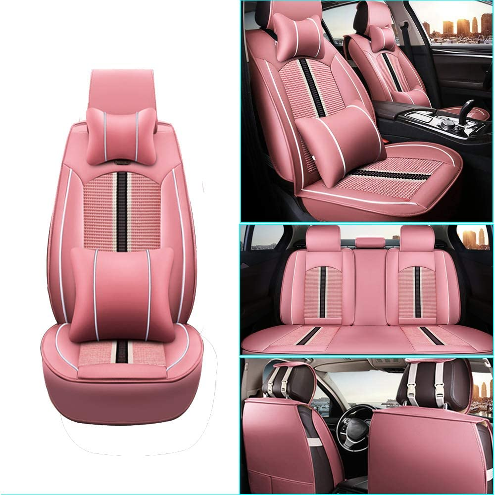 Car Seat Cover for BMW 3Series E92 E93 E90 F30 F31 F34 316i 320i 328i 330i 318i 325i 335i Front+Rear Seats Protector Covers Waterproof Soft PU Leather Cushion 5-Seater Car Pad Stripe Pink 9PCS