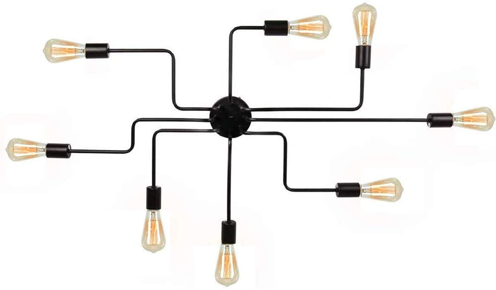 YeLEEiNO Modern Sputnik Chandelier Black Flush Mount Ceiling Light Rustic Chandelier for Bedroom Kitchen Dining Room Living Room 10 Lights (Black) (8 Lights)