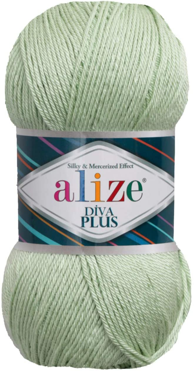 100% Microfiber Acrylic Alize Diva Plus Silk and Mercerized Effect Knitting 3 DK & Light Worsted Crochet Yarn Lot of 4 Ball skeins 400gr 962 yds Color (375 - Nile Green)