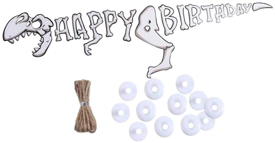 Amosfun Dinosaur Happy Birthday Decorations Happy Birthday Banner Dinosaur Kids Party Supplies Baby Shower Banner