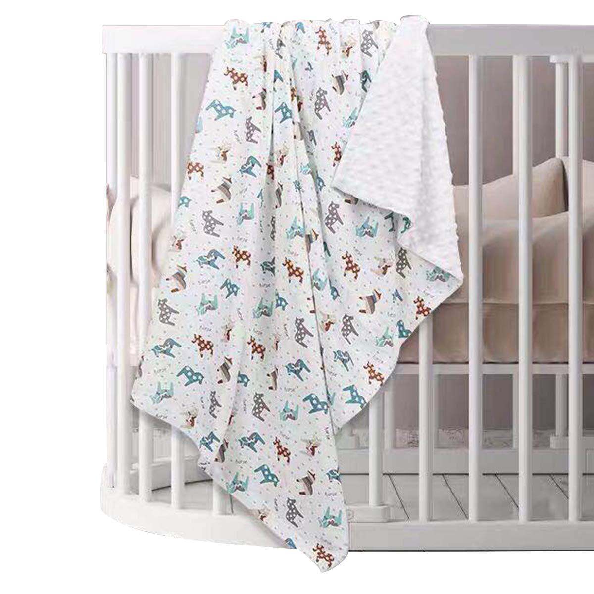 puseky Newborn Baby Bed Blanket, Infant Toddler Lightweight Soft Warm Blanket Crib Stroller Blanket 110x75cm