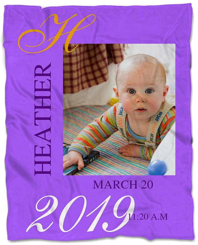 NICTIMEID Personalized Blanket with Photo for Baby Girl - Custom Baby Name Blanket, Super Soft Fleece, 30