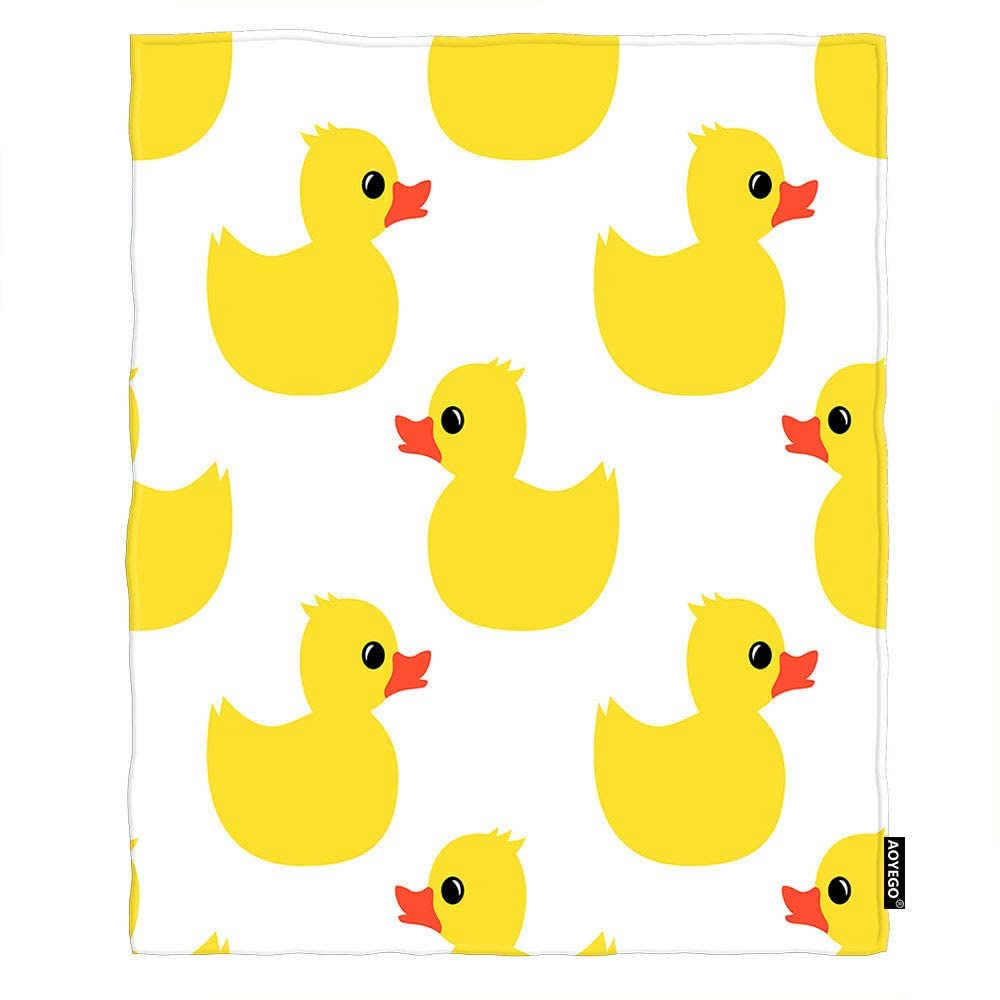 AOYEGO Duck Throw Blanket Cute Animal Yellow Rubber Duck Toy for Baby Shower Kids Blanket King Size Flannel Blanket 60x80 Inch for Sofa Bed Women Men
