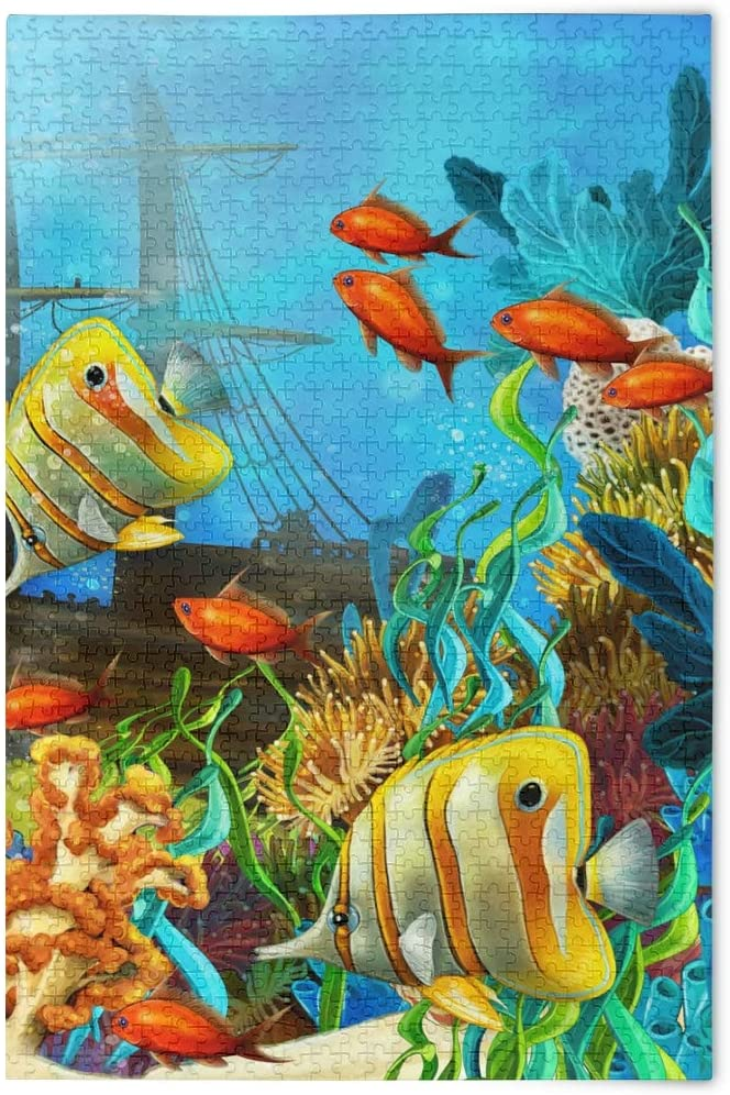 Jigsaw Puzzles 500 Piece Fish Ocean Biological Toy Games Educational Gift Home Decor for Adults Kids 2040199
