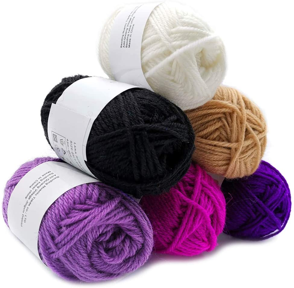 Feltsky 5.3 oz Crochet Yarn - 0.88 oz x 6 Colors Acrylic Yarn for Crochet and Knitting Craft - Light Worsted Durable Yarn 8s/4 Plies - 330 Yard / 300m (White to Black)