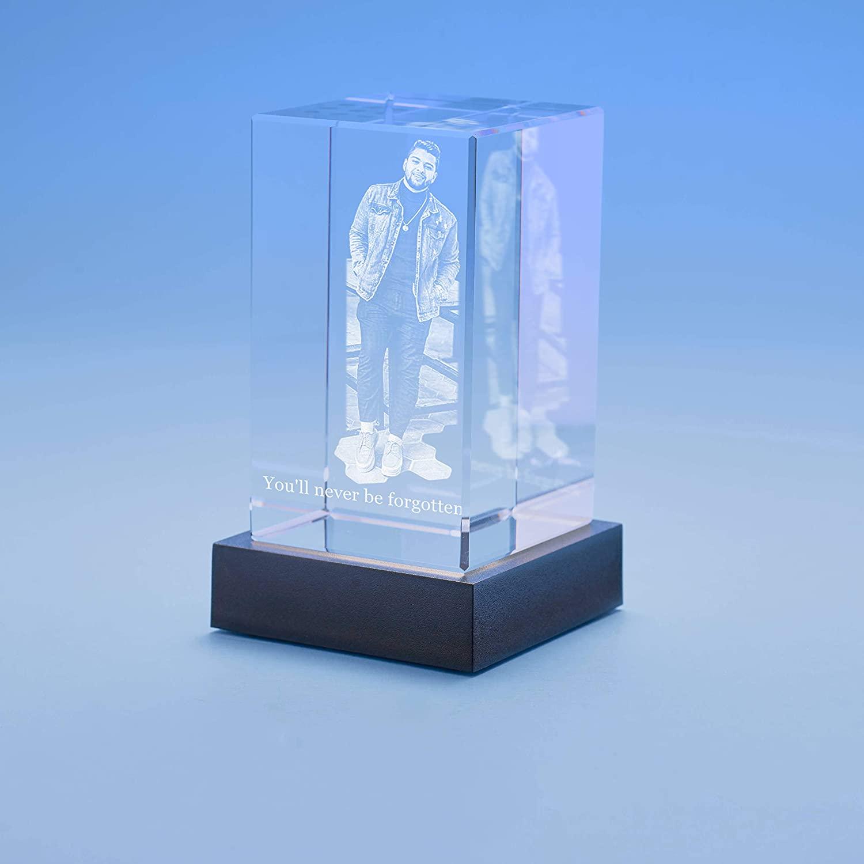 Memorial Tower Crystal, 3D Engraved - Medium with Black Base