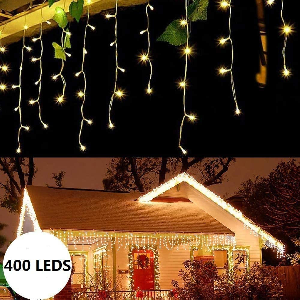 Icicle LED Lights,Christmas String Lights 400 LEDs 32.8ft with 80 Drops Plug in for Wedding Halloween Thanksgiving Easter Birthday Party Backdrops Gazebo Decorations(Warm White)
