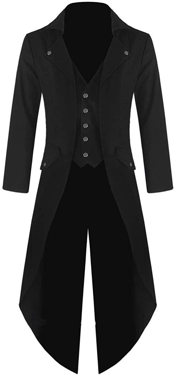 Darkrock Prime Quality Men's Cotton Twill Steampunk Tailcoat Jacket Goth Victorian Coat/Trench Coat USA