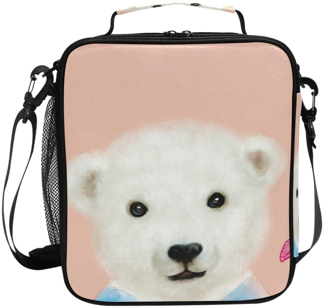 KLL Bear Kids Wome Lunch Bag for Boys and Girls, Insulated Lunch Box for Kids School and Travel,Office Compatible with Most Lunch Box