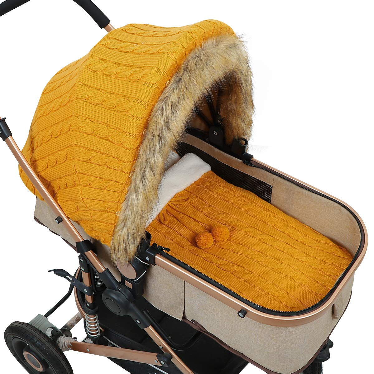 Baby Stroller Cover Sleep Sack Set Newborn Infant Carseat Canopy Stroller Wrap Stretchy Soft Breathable Multi-Use Cover Ups for Stroller High Chair Shopping Cart for Baby Girls Boys(Yellow)