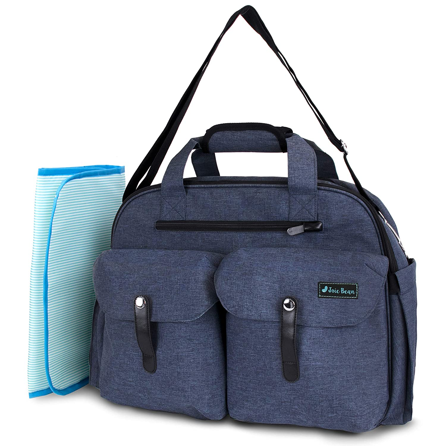 JOIE BEAN Tote Diaper Bag for Mom, Dad | Large Messenger Baby Bag with Shoulder Strap, Changing Mat, Insulated Pockets, Stroller Straps | Multi-Function Organizer Maternity Bag for Travel (Navy)