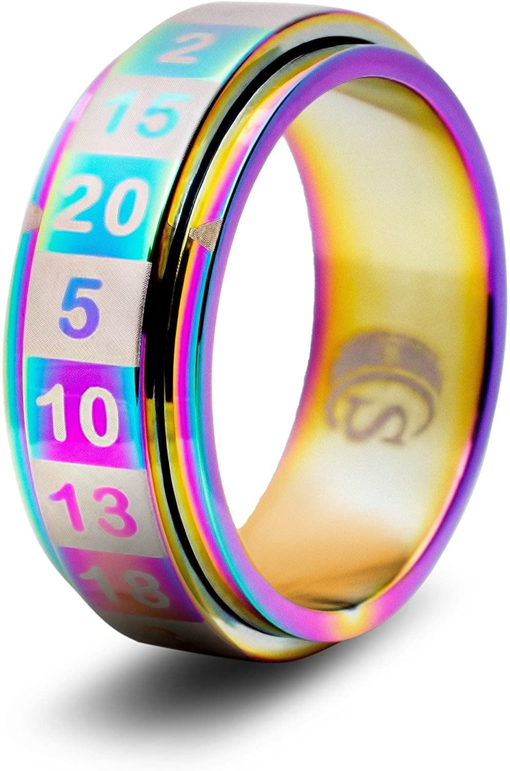 CritSuccess d20 Dice Ring with 20 Sided Die Spinner (Size 11 - Stainless Steel - Rainbow)