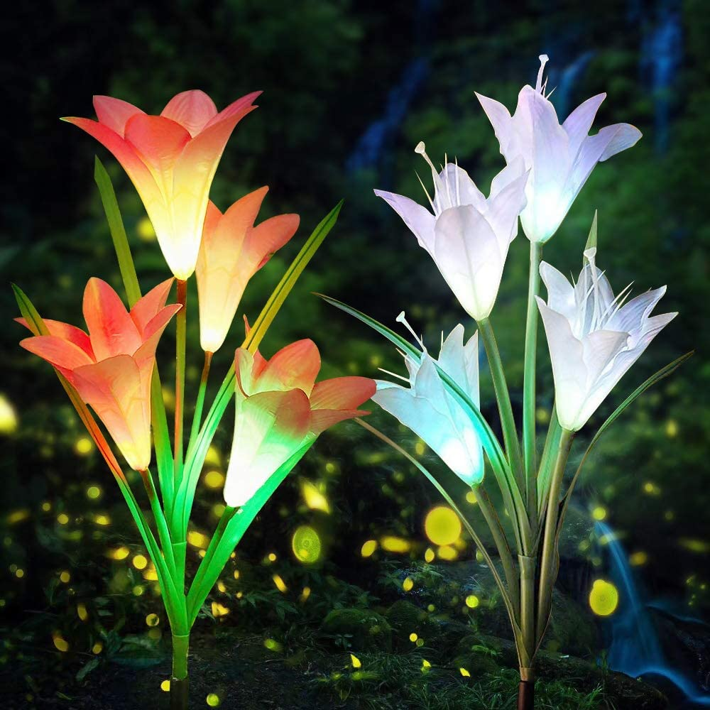 Aogist Outdoor Solar Garden Stake Lights - 2 Pack Solar Powered Lights with 8 Lily Flower, Multi-Color Changing LED Solar Decorative Lights for Garden, Patio, Backyard (White and Red)