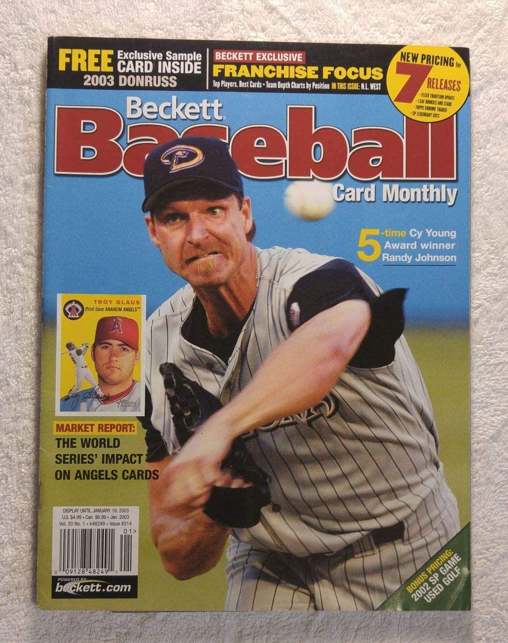 Randy Johnson - Arizona Diamondbacks - 5-Time Cy Young Award Winner - Beckett Baseball Card Monthly - #214 - January 2003