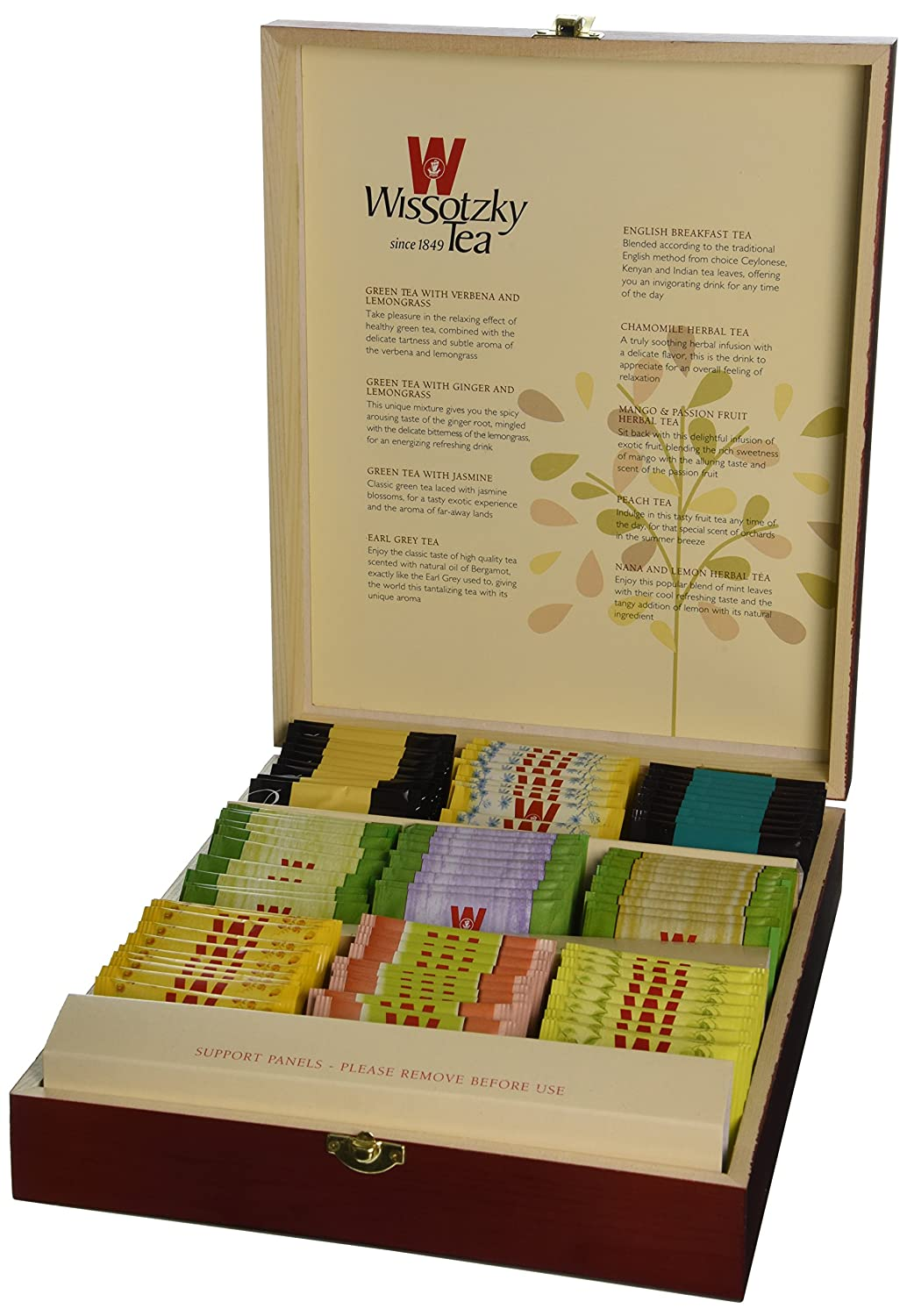 WISSOTZKY Mahogany Tea Chest (9 Flavors), 5.45-Ounce Boxes