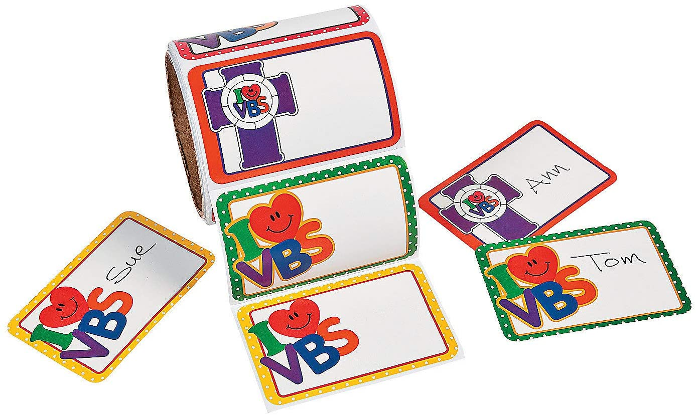Fun Express - I Love Vbs Nametags - Stationery - Stickers - Name Tags - 1 Piece