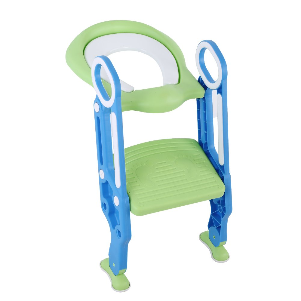 Potty Training Toilet Seat with Step, Toilet Training Seat Stool Ladder for Kid and Baby Soft Baby Toddler Kid Children Anti-Cold Padded Seat (Blue&Green)