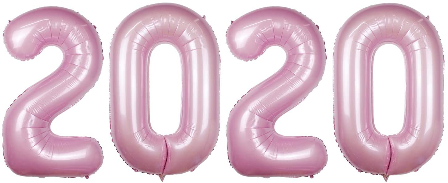 Tuoyi 2020 Happy New Year Party Balloons Kit, 2020 Big Silver Balloons Banner with 20pcs Balloons … (Pink)