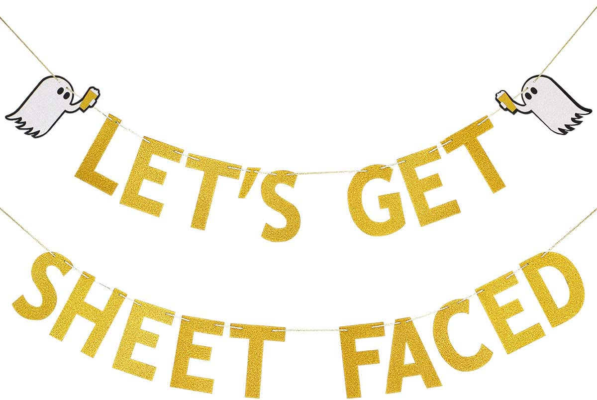 Gold Glittery Lets Get Sheet Faced Banner Sign,Halloween Party Decorations