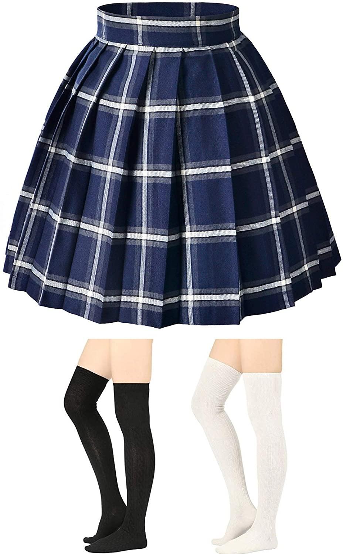 Elibelle Women's Japan High Waisted Tartan Pleated Dance Cosplay Costumes Skirt with Socks
