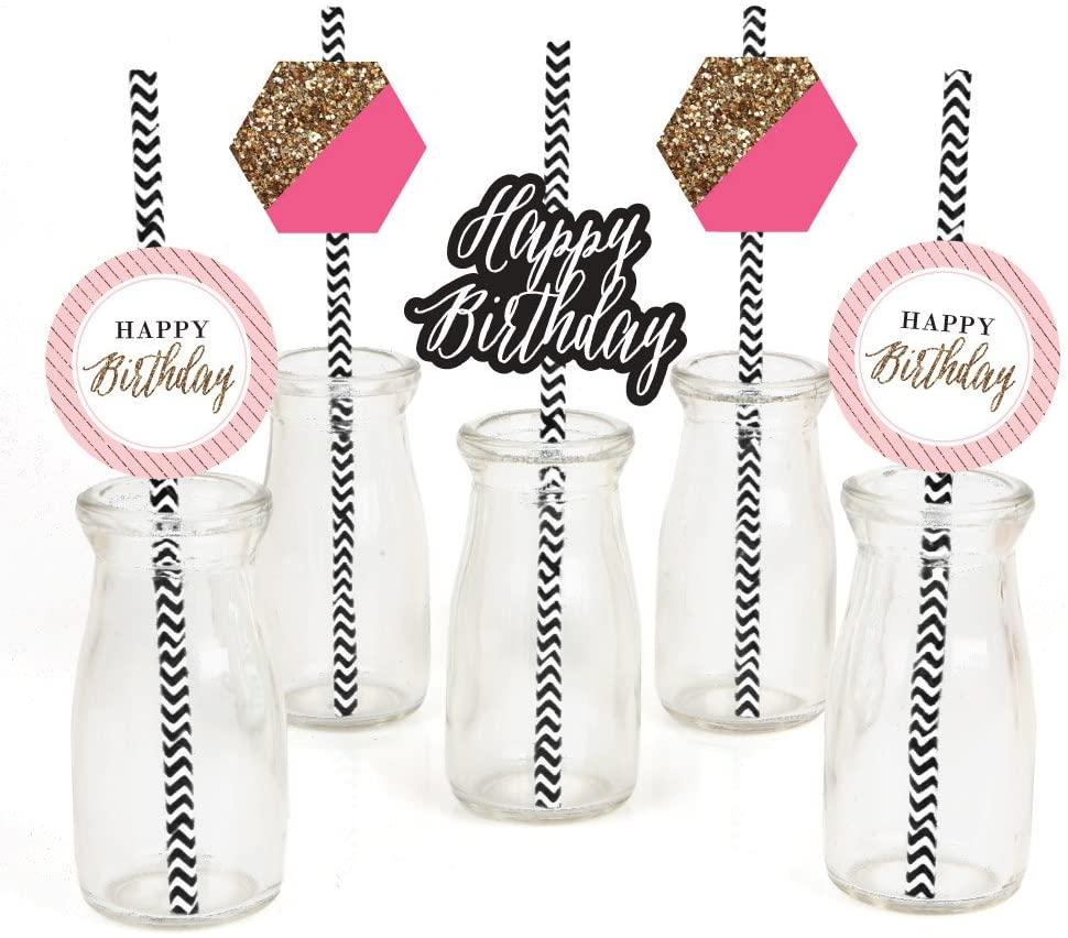 Chic Happy Birthday - Pink, Black and Gold Paper Straw Decor - Birthday Party Striped Decorative Straws - Set of 24