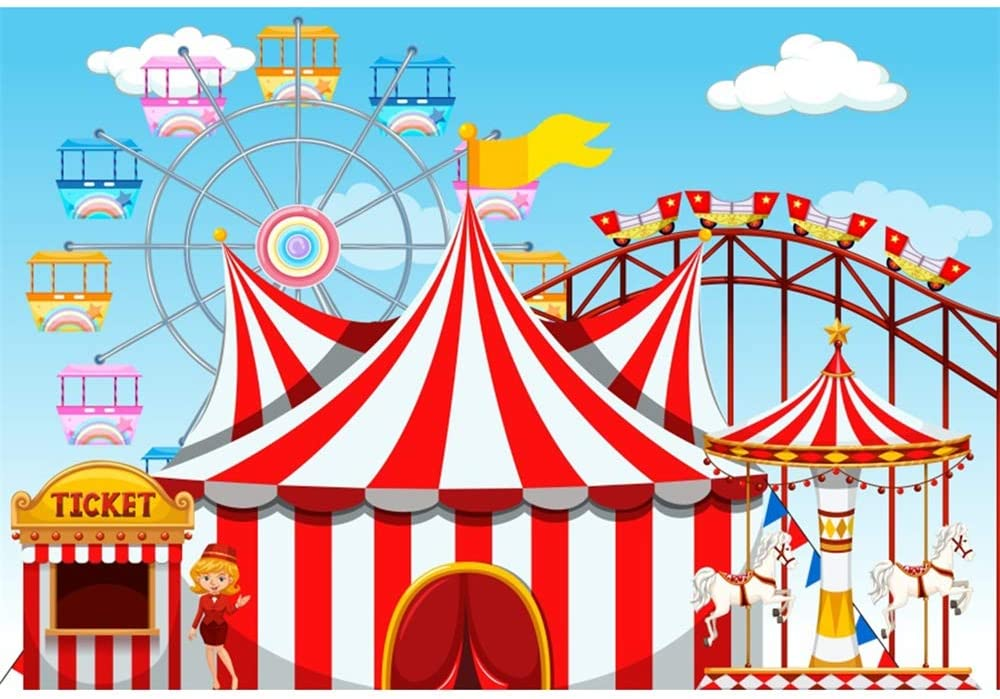 YongFoto 5x3ft Cartoon Children Amusement Park Backdrop Circus Tent Photography Background Ticket Ferris Wheel Carousel Roller Coaster Kids Boy Girl 1st Birthday Party Banner Portrait Studio Props
