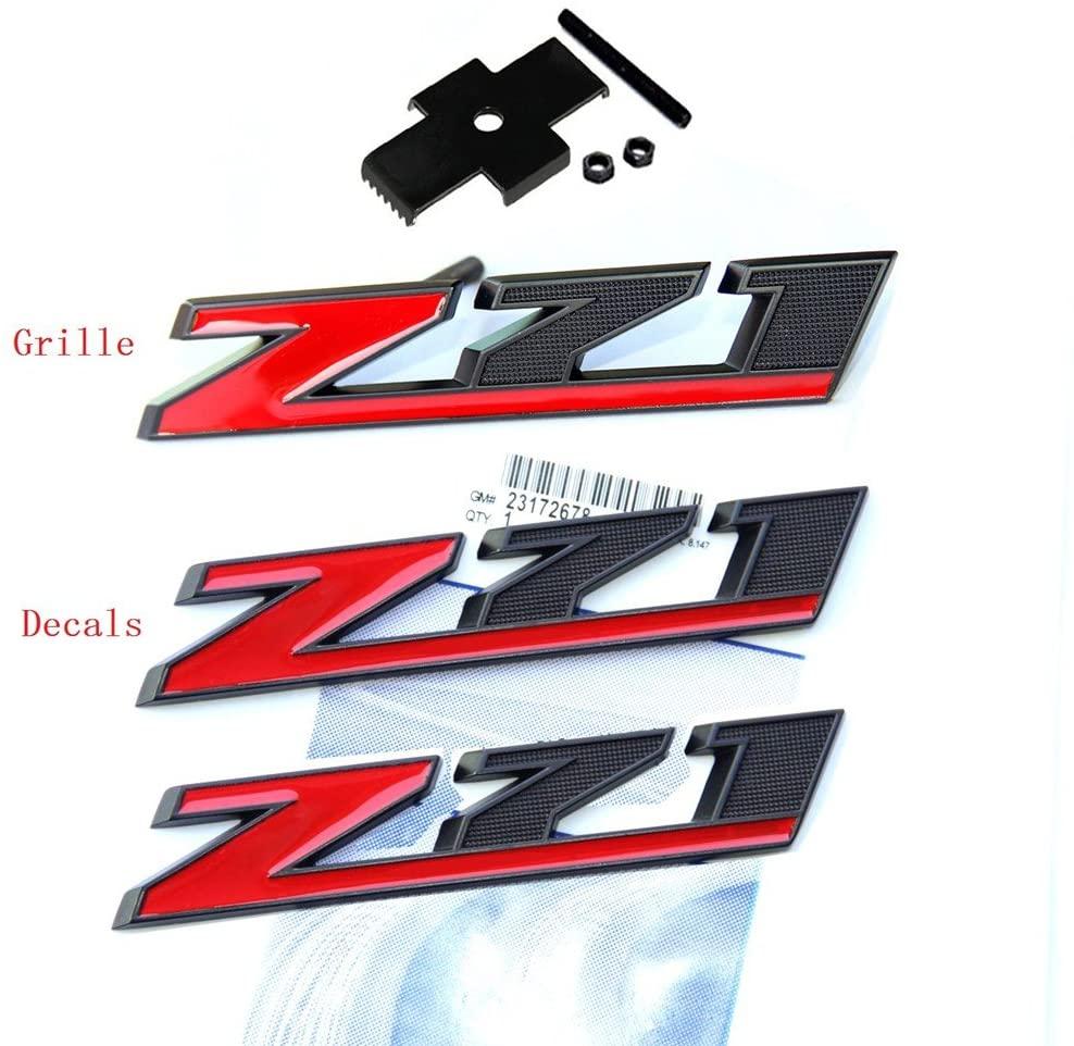 Yoaoo 1x OEM Matt Black Red Grille And Decals Z71 Emblem Badge for Gmc Chevy Silverado 1500 2500Hd Sierra Tahoe Suburban 3D