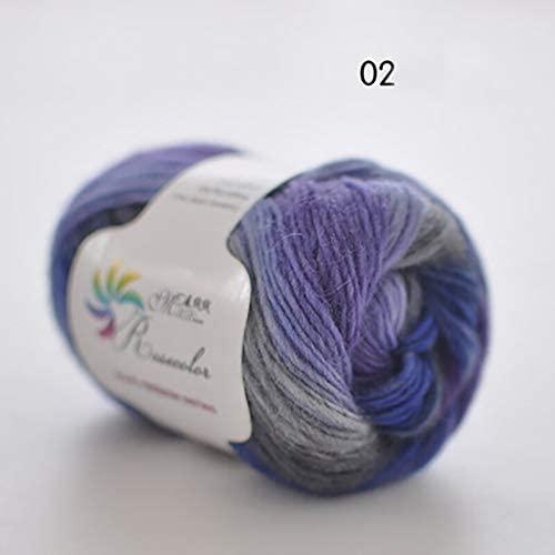 xinchenglove 1.76 Ounce / 3.52 Ounce / 7.05 Ounce/Ball Worsted Section-Dyed Rainbow Yarn 100% Pure Wool Yarn for DIY Hand Knitting Crochet Shawl Scarf Thread AQ003 (N02,7.05 Ounce)