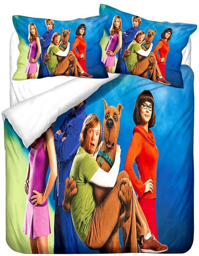 SL-YBB Scooby-Doo Duvet Cover Set, Cartoon Animal 3D Pattern Design, Microfiber Luxury Quilt Cover, Easy to Clean, Children's Bedding Set, Three-Piece Set Queen?228×228cm? (A10,King.229×259cm)
