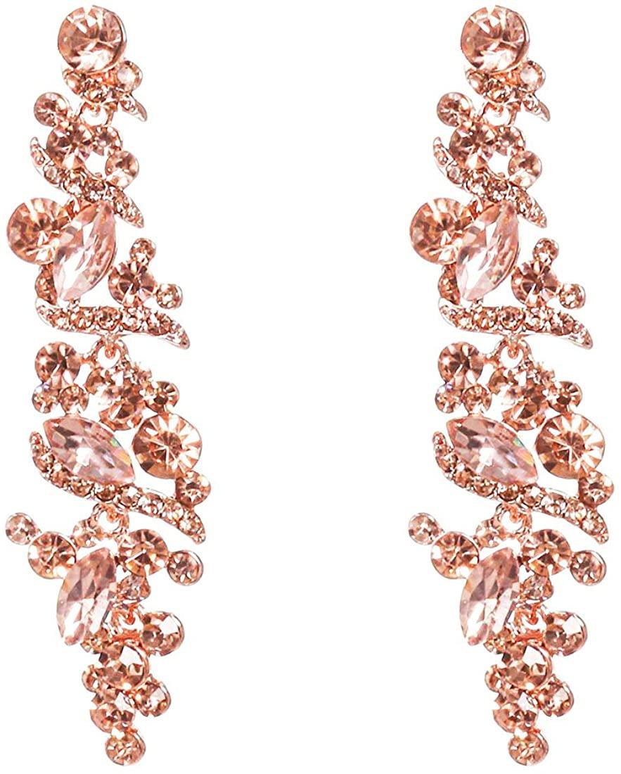 NLCAC Women's Wedding Earrings for Brides Dangling Rhinestone Crystal Chandelier Earring Drop Bridesmaids