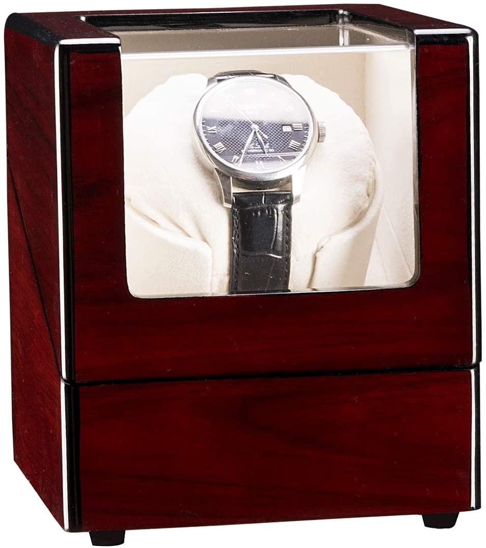 OTU Single Watch Winder Automatic Rotation Wood Display Case Storage OrganizerSandalwood Red(Appearance) White(Internal