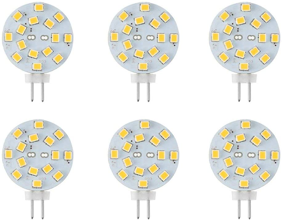 Makergroup 12V G4 LED Bulb 3W Bi-Pin LED Disc Light Bulb 20-30 Watt Equivalent Warm White for Puck Lights in RV Trailers Campers Automotive Marine Landscape Lighting (6-Pack, Warm White)