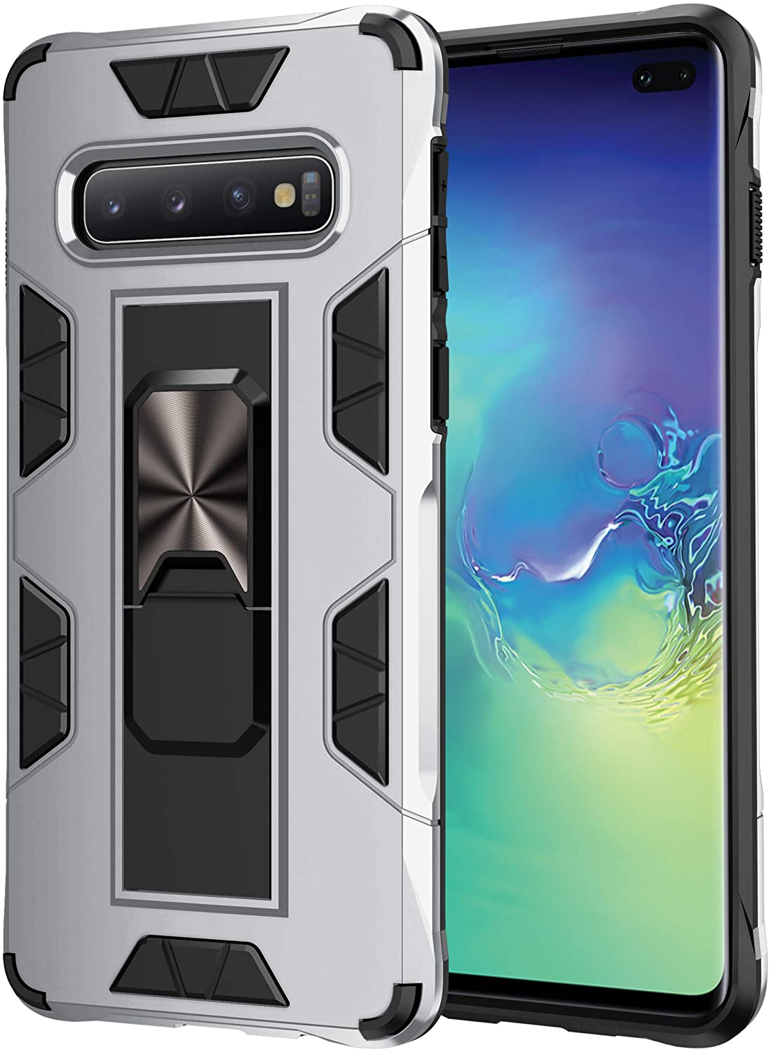Korecase S10 Case Heavy Duty Full Body Protective Cases Upgrade Shockproof Built-in Bidirectional Kickstand Metal Panel Support Car Magnetic Holder for Galaxy S10 6.1