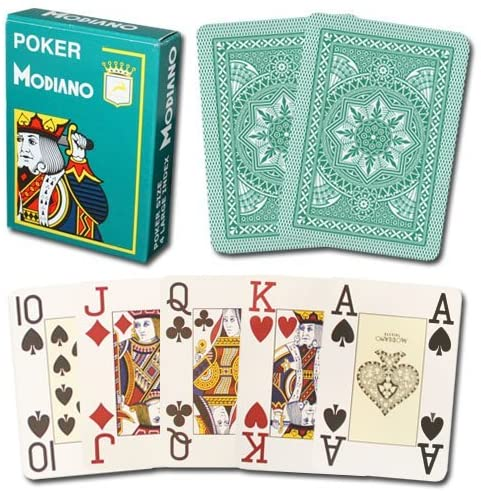 Modiano 100% Plastic Playing Cards Cristallo 4 PIP Jumbo Index (Dark Green)
