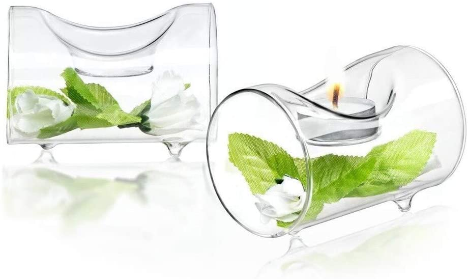 Ambient Clear Glass Single Tea Light Candle Holders (Set of 2) Modern Contemporary