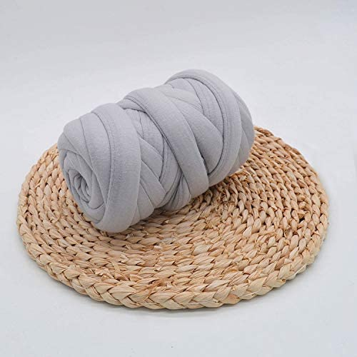 Braid Cotton Yarn Supre Large for arm Knitting DIY Handmade Blankets pet beds Machine Washable Gray 150M(492 ft)
