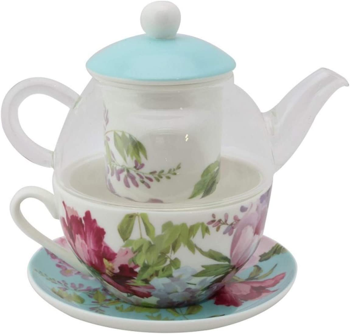 Coastline S17815E-7B Floral Mist Blue See Through Glass Tea for 1, 5 Piece Set Includes Floral Decorate Infuser