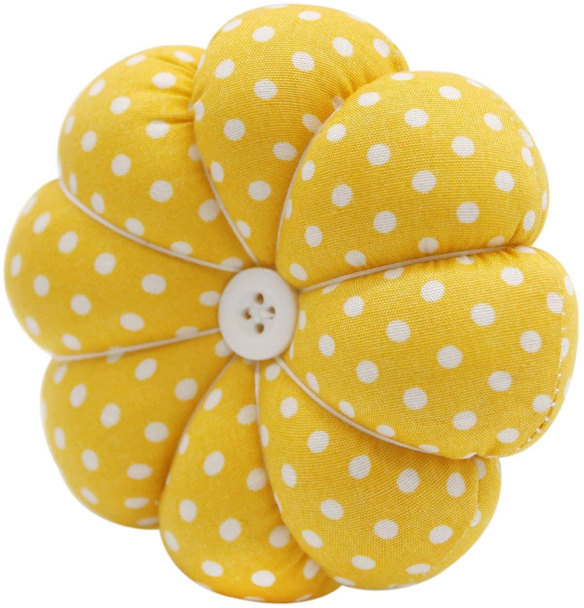YISTA Wrist Pin Cushion Wearable Pumpkin Sewing Pin Cushions for Needlework (Yellow)