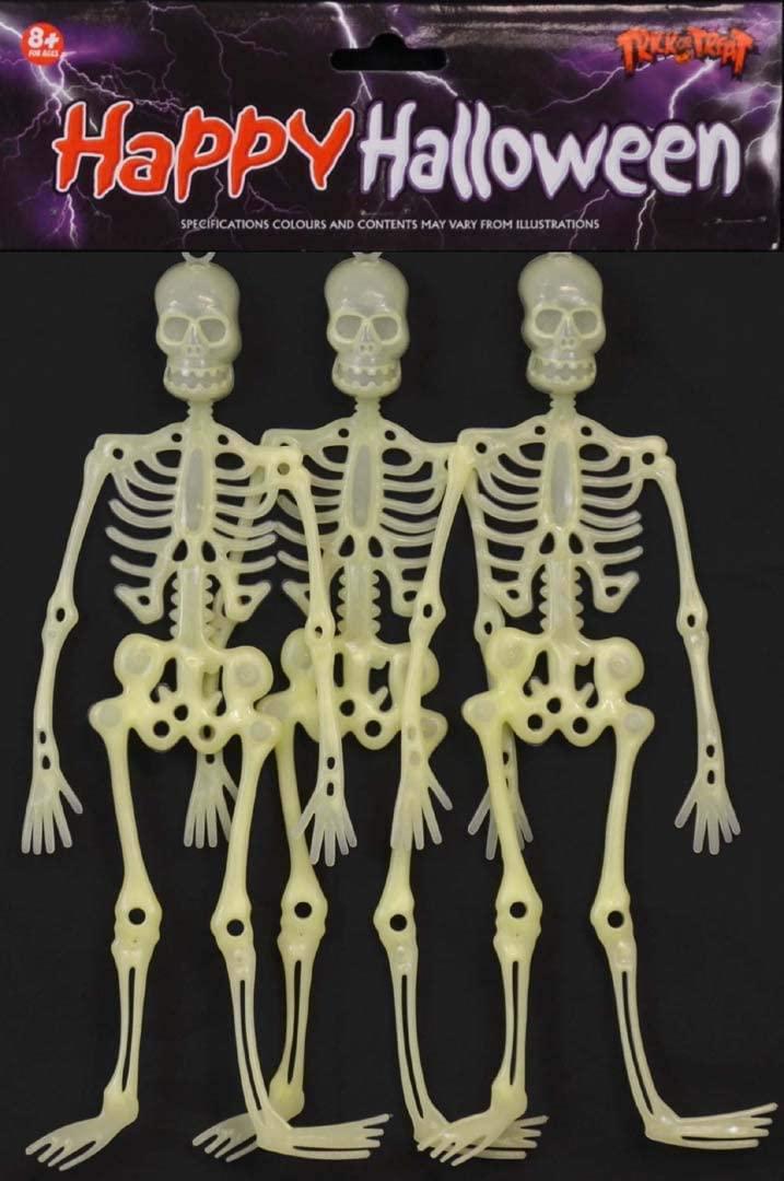 12 Inch Glow-In-The-Dark Hanging Plastic Skeleton Halloween Decoration 3pcs, Spooky Halloween GID Party Supplies