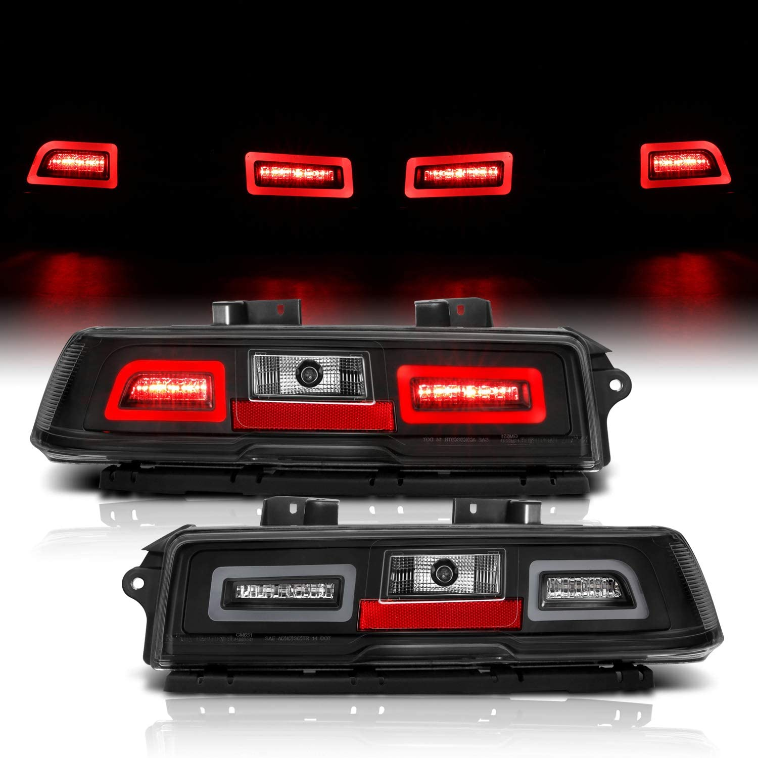 AmeriLite for 14-15 Chevy Camaro Clear Black LED Replacement Brake Tail Lights Assembly Set - Passenger and Driver Side