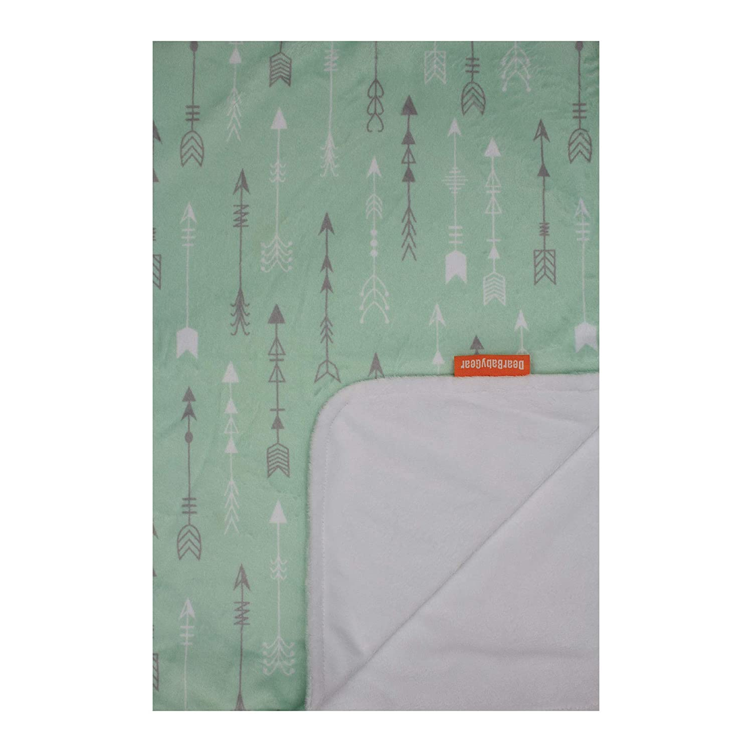 Dear Baby Gear Deluxe Baby Blankets, Double Layer, Grey and White Arrows on Mint Green, Smooth Minky, White