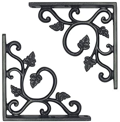 Adonai Hardware Meshezaheel Decorative Black Antique Iron Shelf Bracket - Supplied as Two Pieces per Pack (Black Powder Coated)