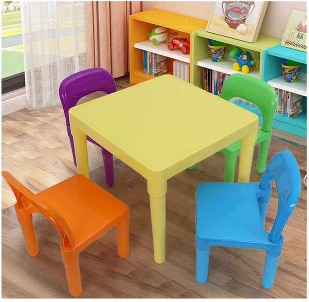 Kuhxz Children Kids Table and Chair Set (4 Chairs Included) - Ideal for Arts & Crafts, Snack Time, Homeschooling, Homework,Toy Storage & Building Block & More