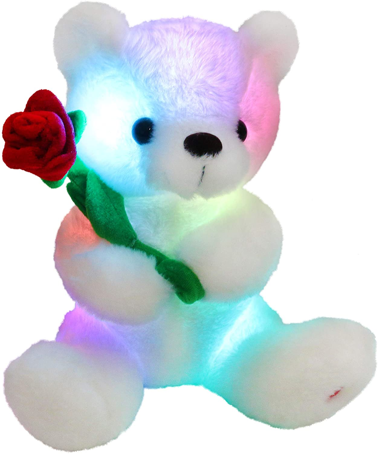 Houwsbaby Glow Teddy Bear with Rose Stuffed Animal Soft Light Up Plush Toy LED Night Lights for Kids Toddler Girlfriend Mother's Day, White, 10.5''