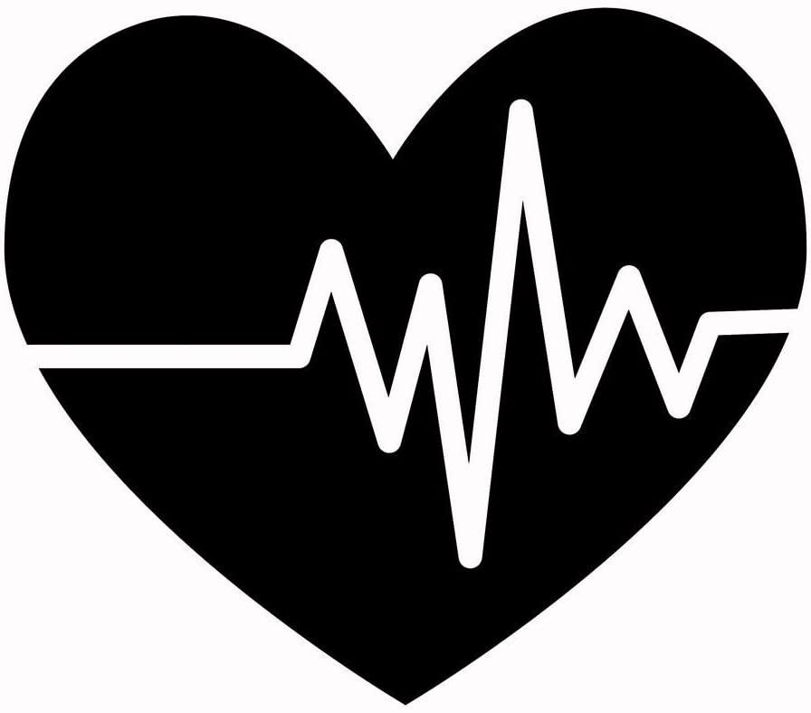 Creative Concepts Ideas Heart with EKG Heartbeat CCI Decal Vinyl Sticker Cars Trucks Vans Walls Laptop Black 5.5 x 4.75 in CCI2205