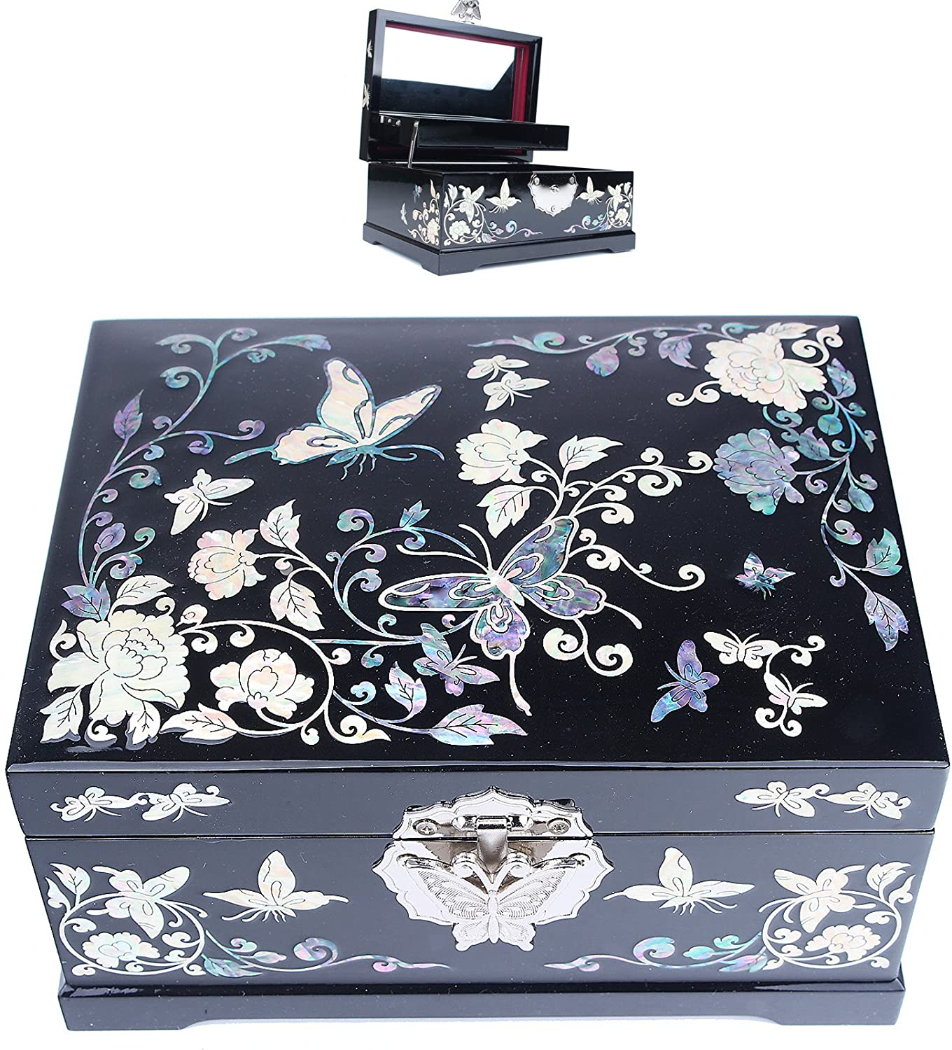Hail Jewelry Boxes Jewelry Organizer Gift Item Mother of Pearl Butterfly HJL1002Black