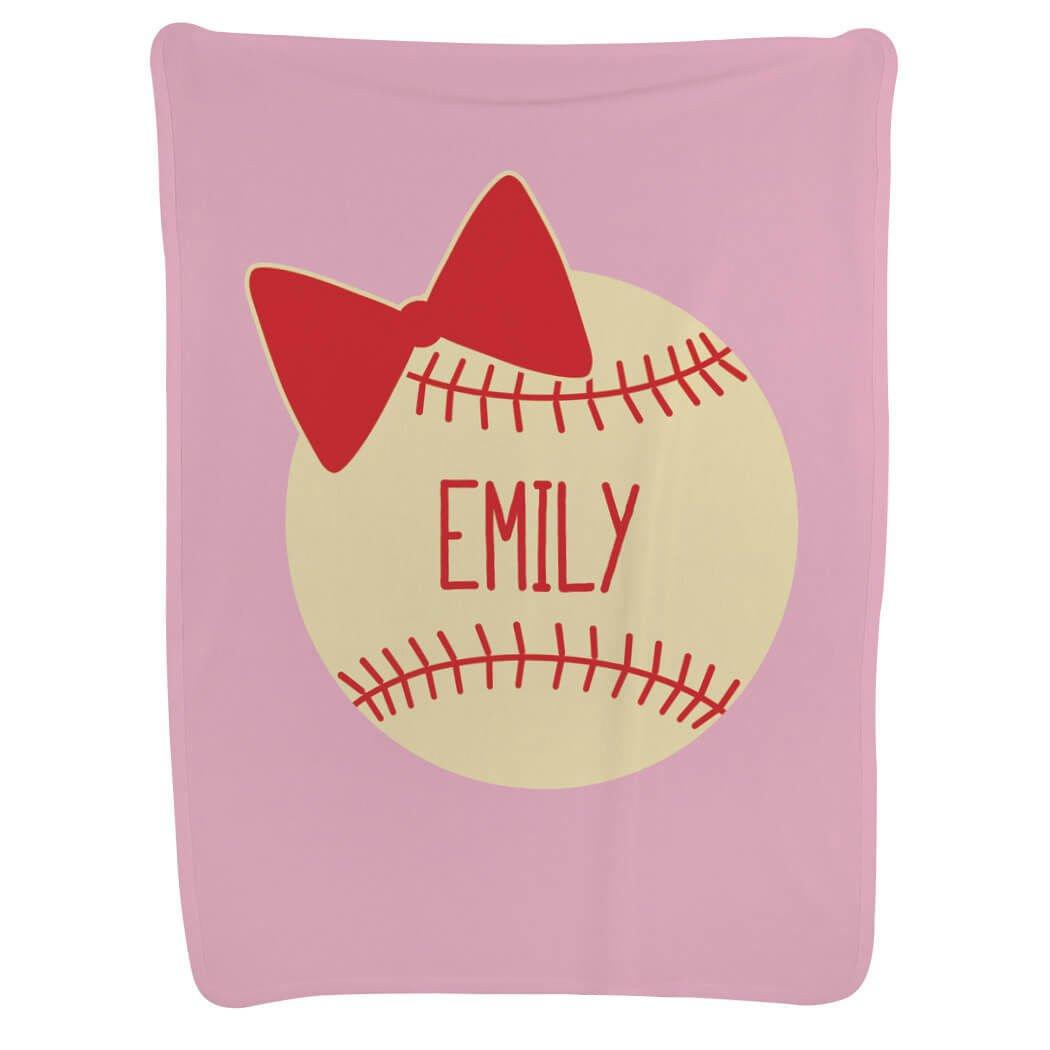 Personalized Baseball Baby & Infant Blanket | Custom Baseball Bow | Light Pink